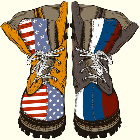 Fashion illustration with military boots with US and Russia flags. Conceptual design