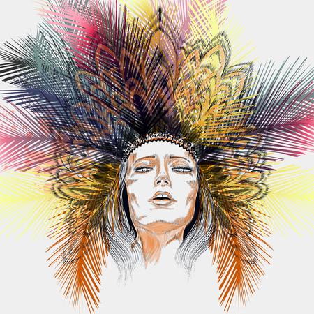 Ilustración de moda Niña india boho con vestido de cabeza de hojas de palmeras tropicales de la selva
