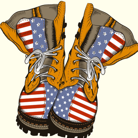 Fashion illustration with military boots with US flag Ilustração