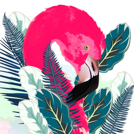Beautiful vector illustration with drawn pink flamingo and palm leafs 矢量图像