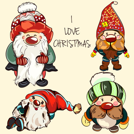 Collection of vector gnomes for Christmas design Illustration