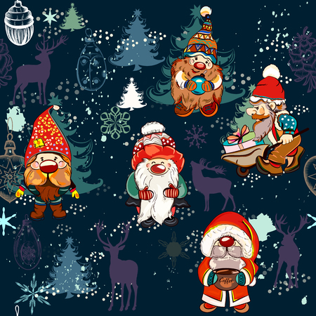 Christmas pattern with dwarfs and Xmas decorations in childish lovely style