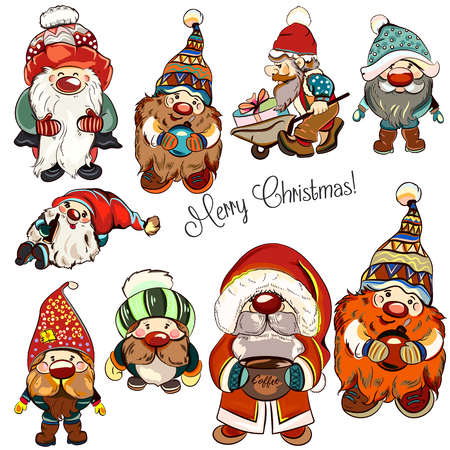 Big collection of hand drawn dwarfs for Christmas illustrations
