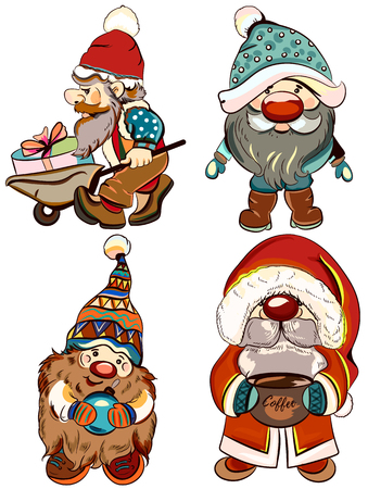 Collection of vector dwarfs for Christmas design