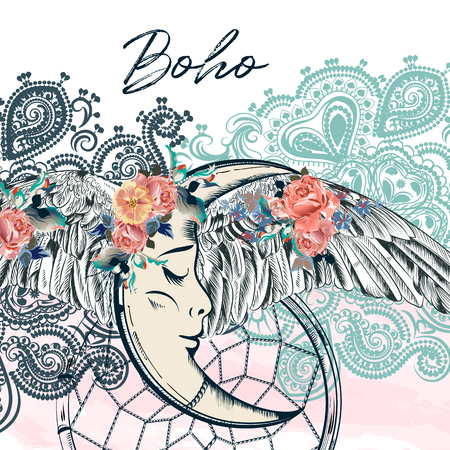 Fashion boho design with dreamcatcher, wings and moon