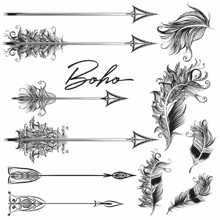 Collection of vector boho arrows in bohemian tribal style Illusztráció