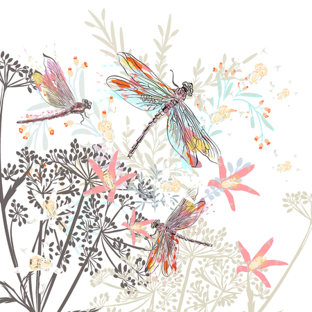 Fashion vector illustration with flowers and dragonfly