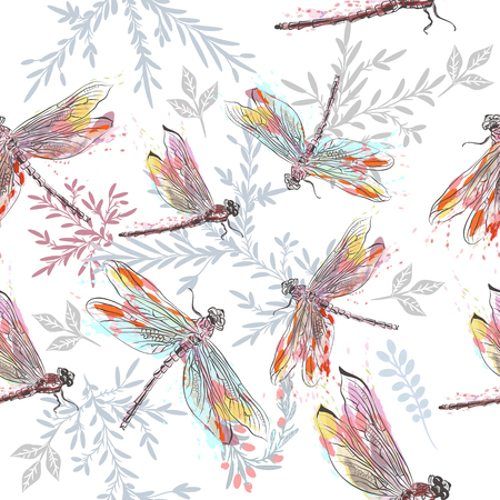 Beautiful pattern or background with dragonfly  in watercolor style painted by spots