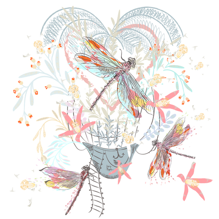 Artistic spring design for T-shirts with air balloon, florals and dragonfly 向量圖像