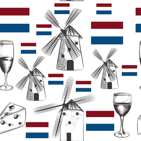 Illustration pattern with mills, Holland flag and cheese 일러스트