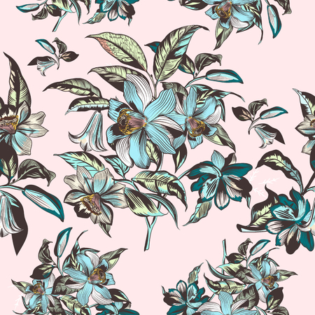 Floral illustration with vector hand drawn flowers in vintage Victorian style