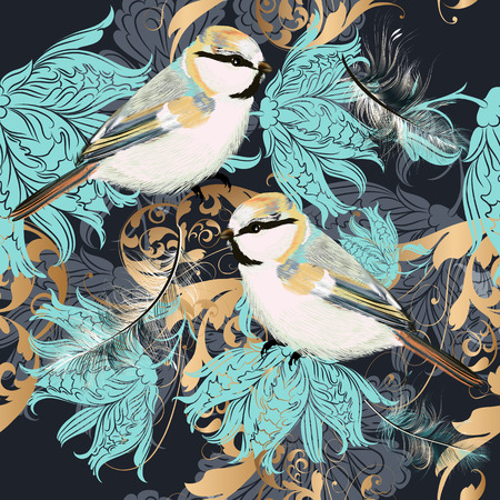 Beautiful pattern with ornament and birds