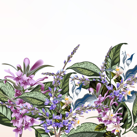 Floral illustration with field flowers  in vintage style 向量圖像