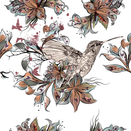 Beautiful illustration with vector hand drawn hummingbirds and flowers in vintage Victorian style