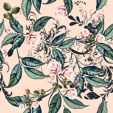 Floral pattern with roses, orange flowers and leafs in soft peach and pink color