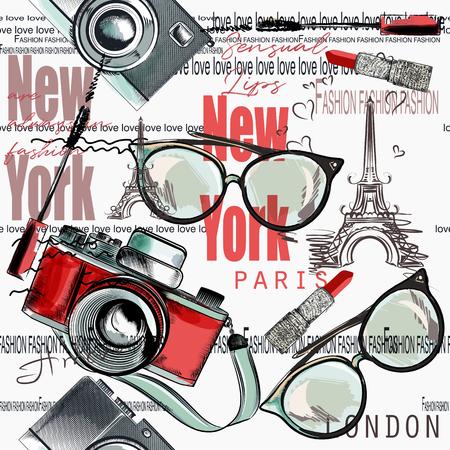 Fashion vector pattern lipstick, camera, glasses, words New York, London, Paris