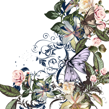 Floral illustration with roses, orange flowers and butterflies
