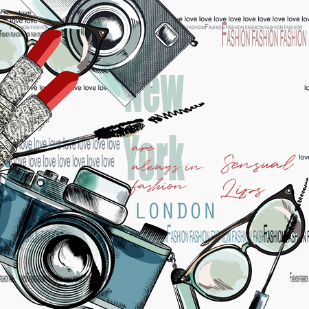 Mode vecteur fond rouge à lèvres, appareil photo, lunettes, mots New York, Londres, Paris