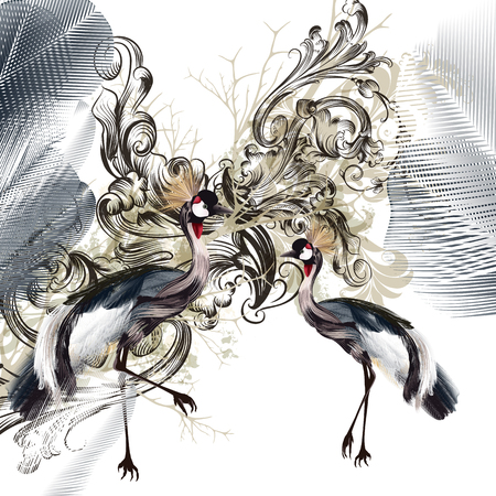 Elegant illustration with birds and swirls