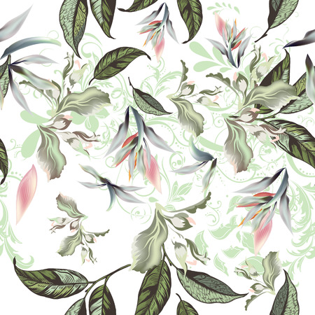 Floral pattern with flowers and leafs