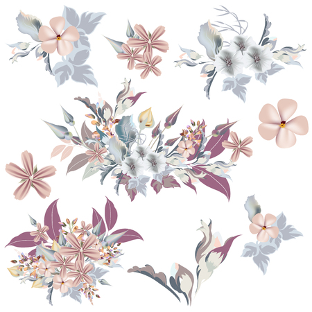 Set of vector elegant flowers in vintage style, ideal for wedding design and invitations