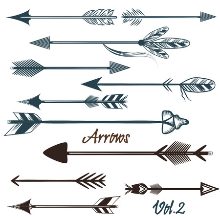 Collection of vector tribal arrows for design