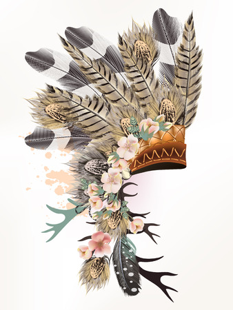 Boho illustration with headdress from feathers tribal vector. Ideal for T-shirt prints