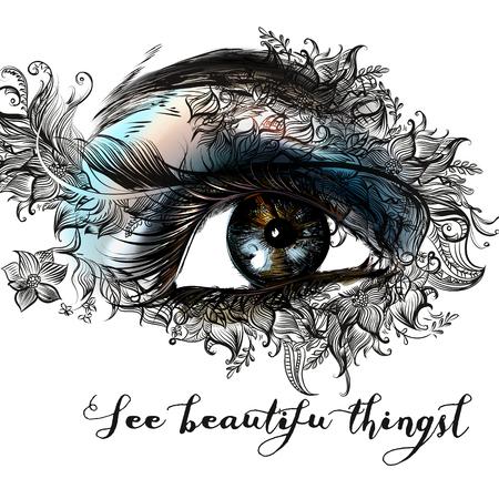 Fashion illustration with beautiful female eye