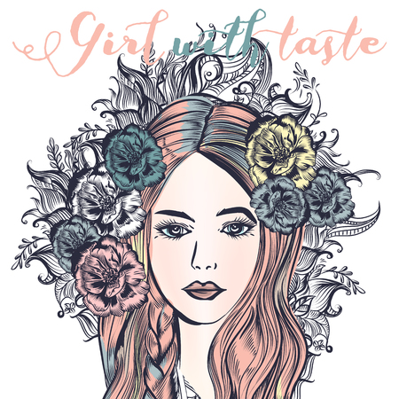 Fashion illustration with beautiful pink haired girl. Woman with taste Ilustrace