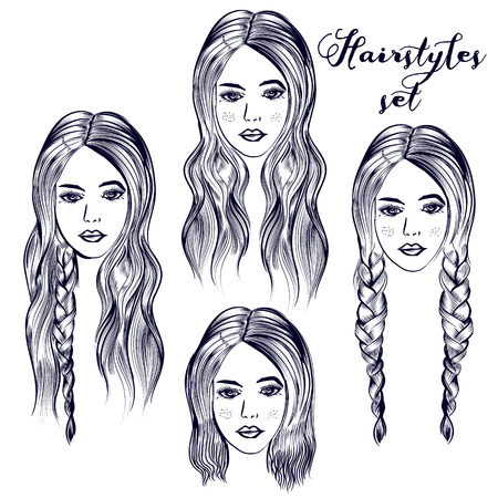 Fashion illustration with young woman, different hairstyles