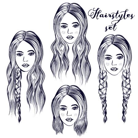 Ilustración de moda con mujer joven, diferentes peinados