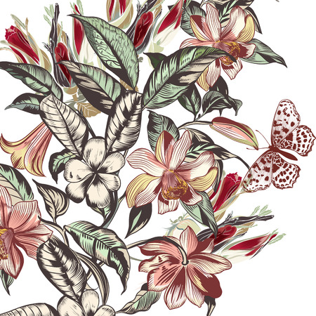 Beautiful vector illustration with tropical flowers in vintage style