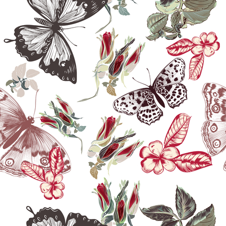 Vector vintage pattern with roses and butterflies in retro style