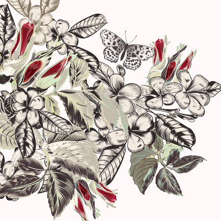 Beautiful vector background with hand drawn tropical flowers in vintage style Illustration