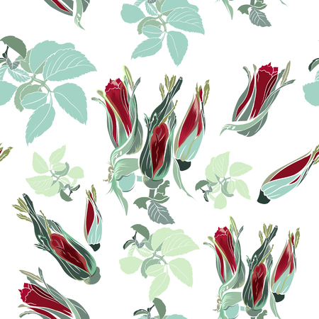 Fabric pattern with roses in vintage style Illustration