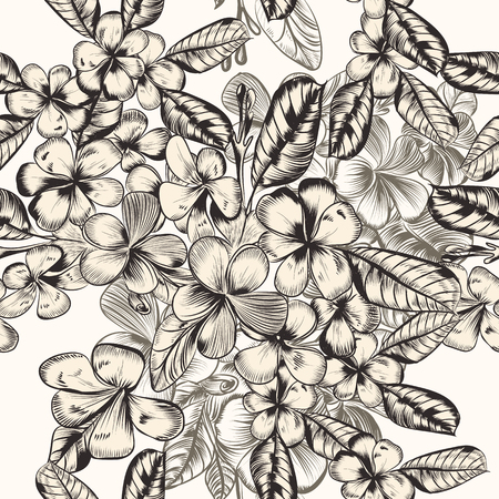Beautiful vector pattern with hand drawn tropical flowers in vintage style