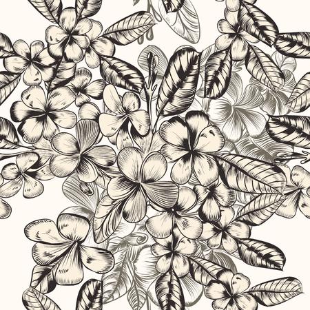 Schönes Vektormuster mit handgezeichneten tropischen Blumen im Vintage-Stil Vektorgrafik