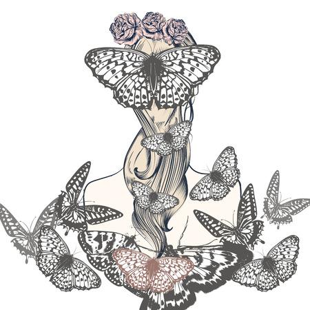 Fashion beautiful vector illustration girl with butterflies Illustration