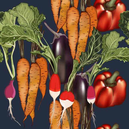 Food vegan pattern vector in vintage style with vegetables eggplant, radish, carrot Ilustrace