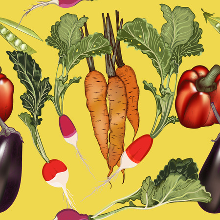 Beautiful vector food pattern from vegetables carrot, radish and other
