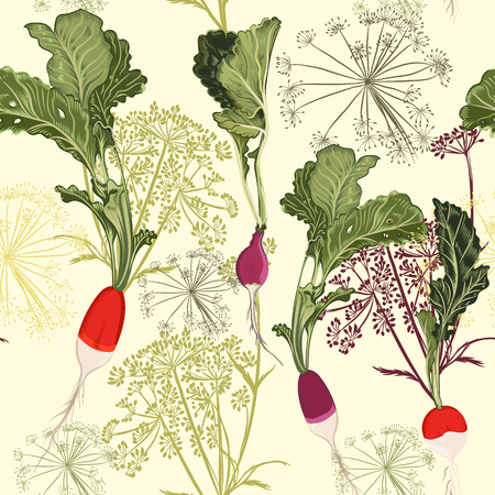 Floral food pattern vector vintage style with vegetables radish