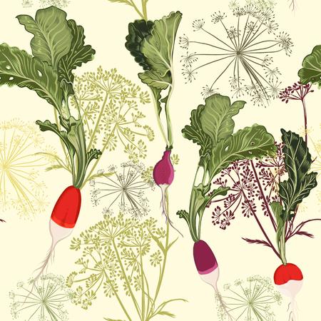 Style vintage de vecteur de modèle de nourriture florale avec le radis de légumes