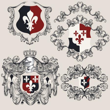 Heraldic shields set for antique vintage design. Vector illustration