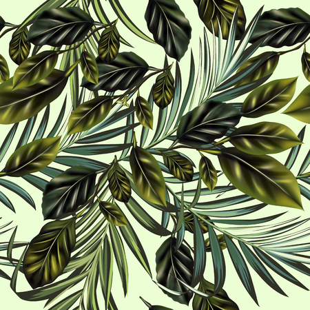 Fashion vector tropical palm leaves and citrus pattern