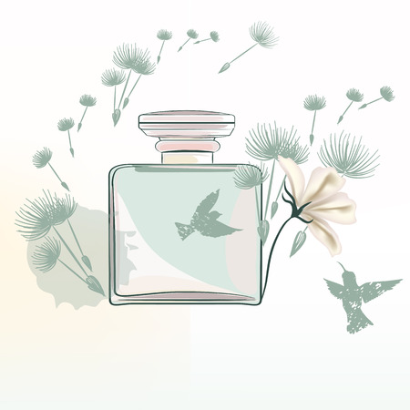 Fashion illustration with perfume bottle and dandelions