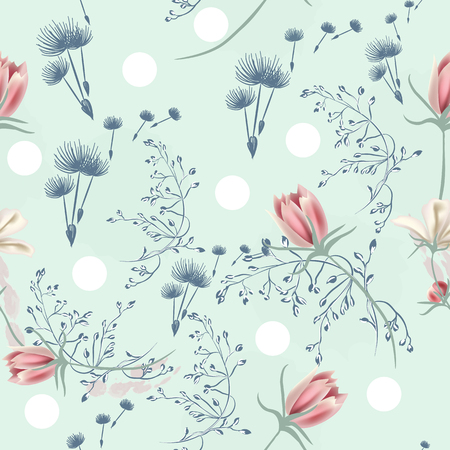 Floral seamless vector pattern with dandelions and pink cosmos flowers