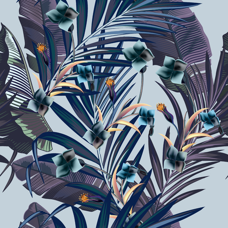 Fashion vector pattern with tropical branches in vintage style