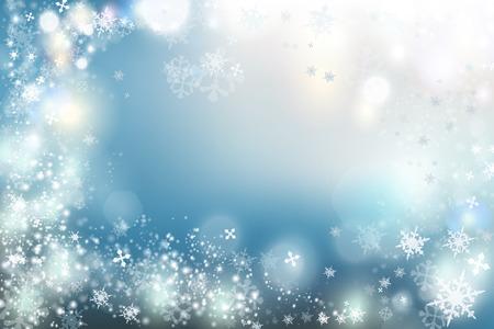 Boże Narodzenie tło wektor zima ilustracja z kryształowymi płatkami śniegu. Motyw noworoczny
