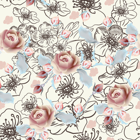 Patrón de vector de moda con flores color de rosa en estilo vintage