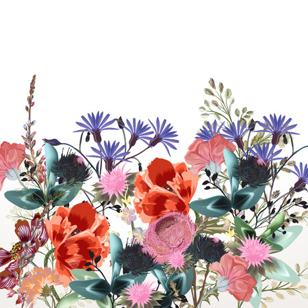 Fashion textile floral vector pattern with clover and field flowers